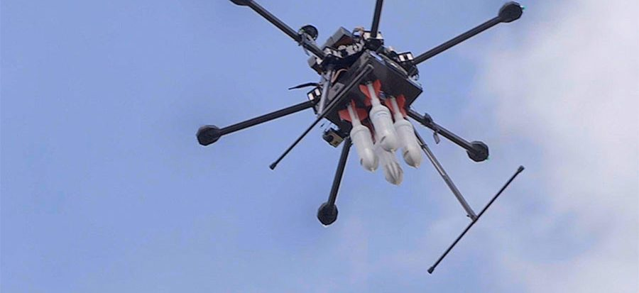 Drone carrying DARTs for seismic acquisition